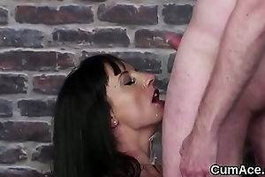 Sexy bombshell gets sperm load insusceptible to their way face swallowing all the load