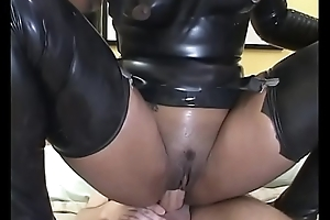 Black babe in bed gets cum kick the bucket sweet fucking from two studs