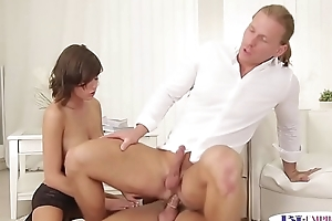 Assfucking hunks and classy babe in threeway