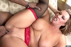 Thick ass blonde babe getting destroyed by a BBC