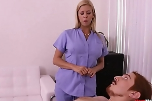 Blonde MILF Pulsating Cock Having Some Painful Orgasm