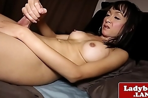 Bigtitted asian tgirl wanking uncut cock solo