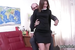 Erotic schoolgirl was tempted and fucked by her older bus