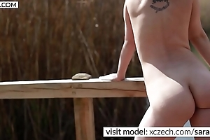 Hot czech MILF is showing cum-hole in the nature - XCZECH.com