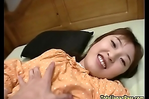 Doggystyled asian teen sucks cock in pov