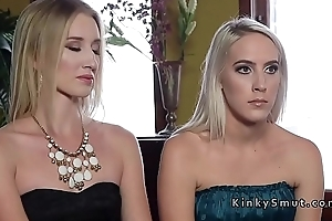 Two hot blondes verge on anal fucked in threesome