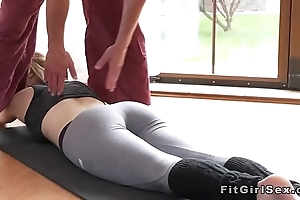 Fit blonde fucked with respect to missionary at the gym