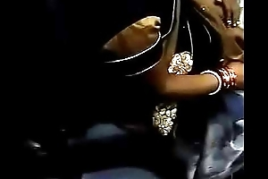 Boobs Cleavage of desi bhabhi in train touch by not her Son