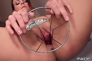 Naughty czech girl spreads her spread slit to the unusual