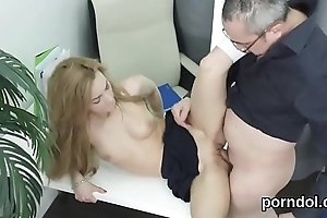 Kissable college girl gets teased and banged by her older schoolteacher