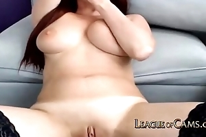 Camgirl in Sexy Lingerie Cums to Multiple Tips